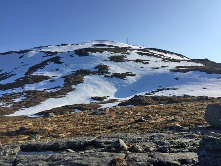 Still snow left on the upper mountain