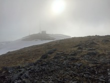 But on the summit, the fog rules...