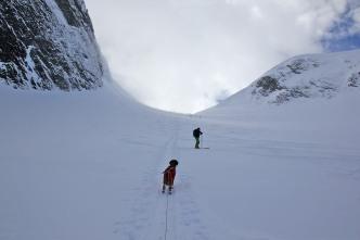 It was windy on the glacier