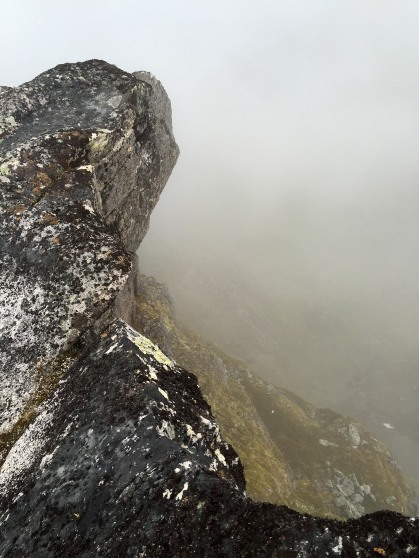 An overhanging cliff on the summit