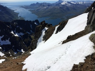 Looking back on the route from the couloir
