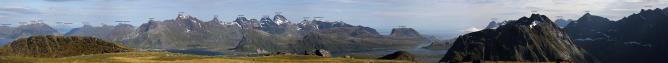 Panorama towards Flakstadøya peaks
