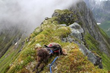 On the way across the ridge