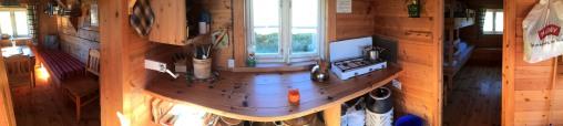 Inside the main hut