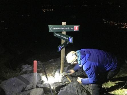The new signpost on Rjåhornet