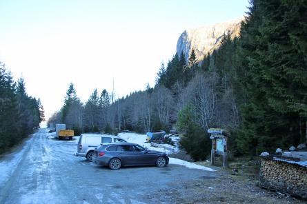 The trailhead parking