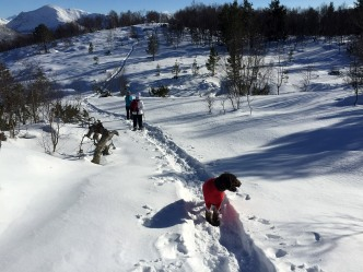 We met the snow-shoe woman