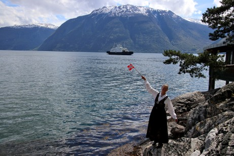 Anne in her bunad, waiting for the ferry across Sognefjorden