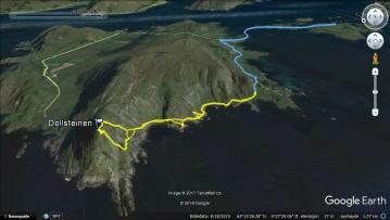 Trip tracks (yellow: hike, blue: bike)