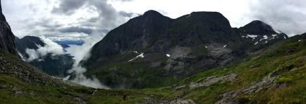 Off-trail, but following sticks