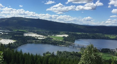 Mistberget and the bridge across Mjøsa by Minnesund