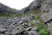 Up a boulder field