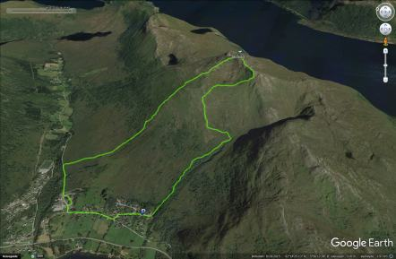 The route, seen through Google Earth