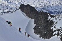 People on the path to the summit
