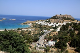 Passing Lindos in the afternoon