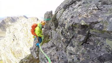 Passing Ole at the rappell point