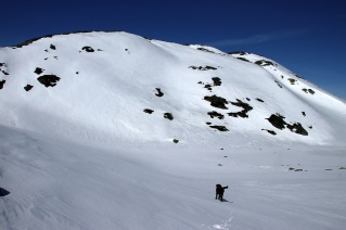 Foot of the mountain, aiming for the gully to the right