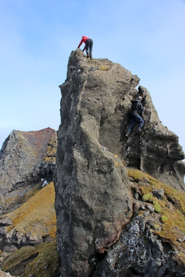 Climbing the middle pinnacle