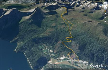 Our route up and down the mountain