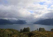 Hjørundfjorden in clouds